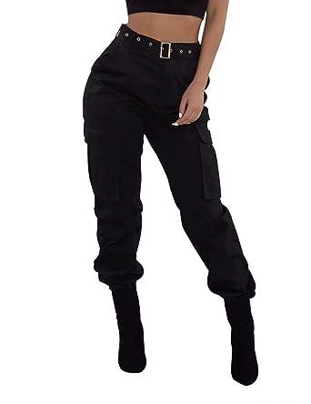 e7fc4212530 Pantalon Femme Chino Skinny avec Bas Elastique Pantalon de Jogging Femme  Taille Grande Tenadance avec Poches