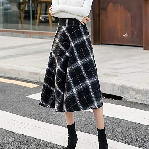 Lana Pieghe Xyujie Scozzese Line Autunno In Quotidiano Black Abbigliamento Motivo Lunga A Inverno Gonna Donna Camicia ERqfwB46qx