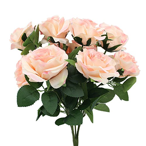 Topix Premium artificial flower Romantic Rose 10 Big Heads Bounquet (Pink)