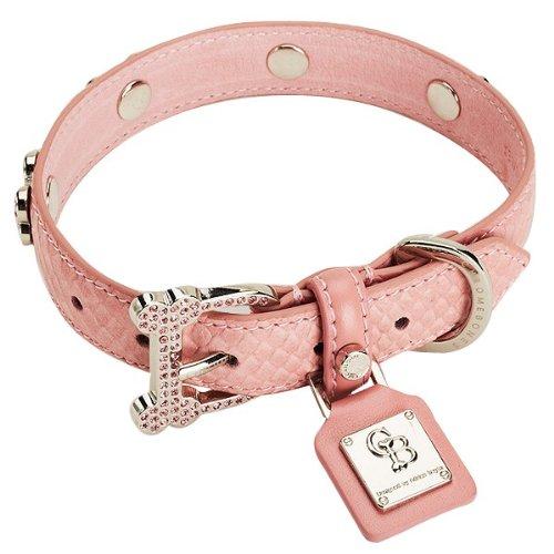 Chrome Bones Eternity Diamonds Pet Collar, X-Small, Pink