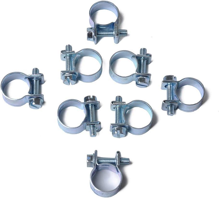 Alician 10 Teile//Satz 7-18 MM Mini Schlauchschellen Edelstahl Kraftstoffleitung Rohr Schlauchschelle Rohr Clip A1732-09 15-17MM