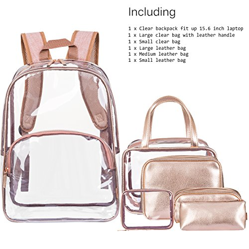 NiceEbag 6 in 1 Clear Backpack with Cosmetic Bag & Case, Clear Transparent PVC School Backpack Outdoor Bookbag Portable Travel Toiletry Bag Makeup Quart Luggage Organizer (Rose Gold) by NiceEbag (Image #1)