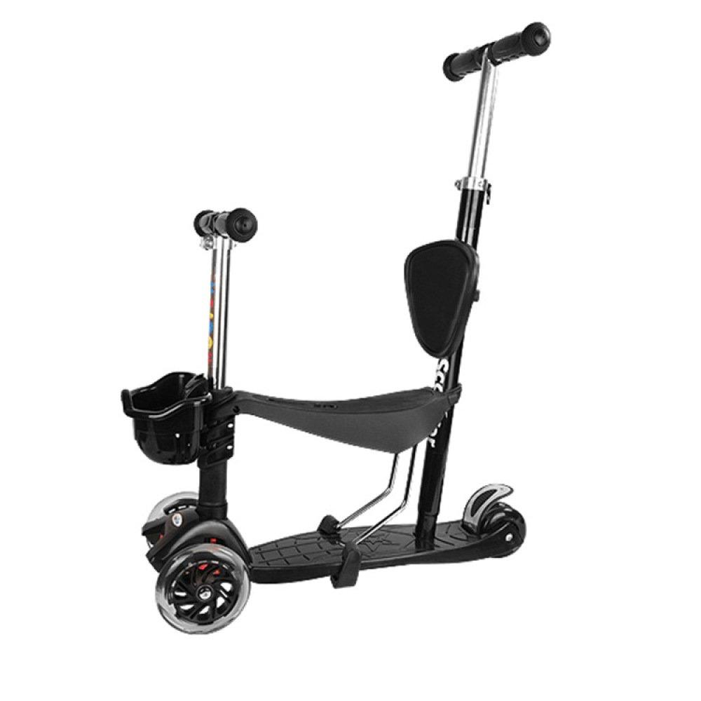 MX El bebé scooter para niños de cinco en uno puede sentarse con carrito de niños con flash,Negro,Un tamaño XM