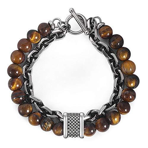 Hermah Natural Stone Beads Gunmetal Stainless Steel Rolo Link Chain Bracelet for Men Women Boys Tiger Eyes Stone Bead Bracelets 10inch