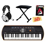Casio SA-76 44-Key Mini Keyboard Bundle with Bench, Headphones, Instructional Book, and Polishing Cloth