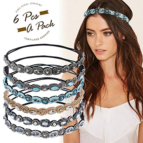 FIBO STEEL 6 Pcs Boho Headbands for Women Girls Rhinestone Hair Accessories Elastic Head Bands