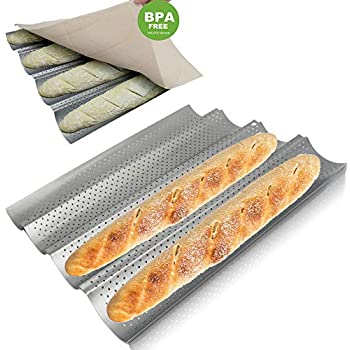 MyLifeUnit Nonstick Perforated Baguette Pan 11 Inch French Bread Pan for Baking