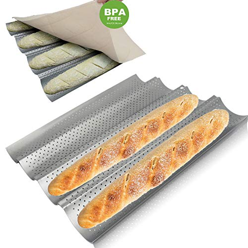 Walfos Baguette Pan Set-Food Grade Nonstick Coating Perforated Baguette Bread Pans for French Bread Baking 4 Loaves, with Professional Bakers Couche Proofing Cloth ()