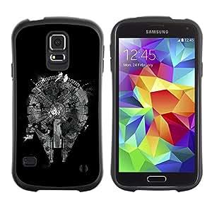 Paccase / Suave TPU GEL Caso Carcasa de Protección Funda para - Abstract Black Monochrome Plan - Samsung Galaxy S5 SM-G900