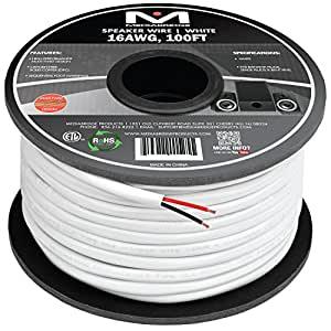 Mediabridge 16AWG 2-Conductor Speaker Wire (100 Feet, White) - 99.9% Oxygen Free Copper - ETL Listed & CL2 Rated for In-Wall Use (Part# SW-16X2-100-WH )