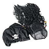 CatchStar Pirate Wig Easy Wear Pirate Dreadlock Wig With Realistic Beaded Braids And Scarf For Men Kid Halloween Costume Accessories