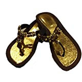 Ladies Brown Sandals with Golden Insole and Beaded Comfort Heel Thong Strap (Size L - 8/9)
