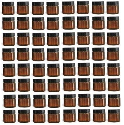 Nakpunar 64 pcs 1 oz Amber Brown Plastic Jars with Black Cap - Single wall PET