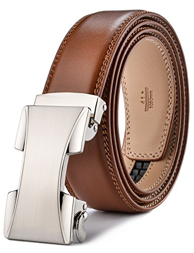 plyesxale Men's Leather Ratchet Dress Belt- Length is Adjustable - Delicate Gift Box (Waist Size:26-36'', Tan strap&Silver Buckle) by plyesxale