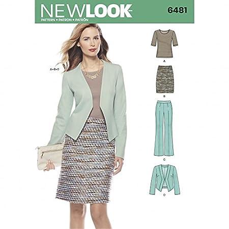 New Look Ladies Sewing Pattern 6481 Knit Top, Skirt, Pants & Jacket ...