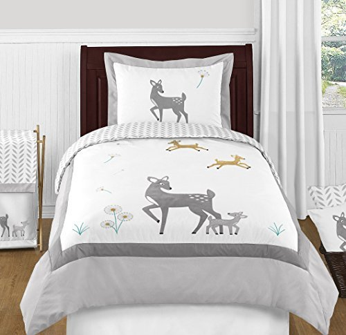 Sweet Jojo Designs 4-Piece Grey Gold and White Forest Deer and Dandelion Boy or Girl Kids Children's Twin Bedding Set