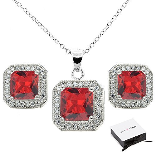 Cate & Chloe Londyn Jewelry Set, 18k White Gold Ruby Gemstone Pendant Necklace and Stud Earrings, Bridal Jewelry Set, Necklace Earring Set for Women, Princess Cut Red Ruby Jewelry -