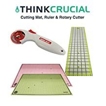 Durable 24x18 Self Healing Reversible Cutting Mat, 6x24 Inch Acrylic Cutting Ruler & 45mm Contour Rotary Cutter, by Think Crucial