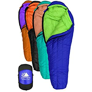Hyke & Byke Eolus 15 & 30 Degree F 800 Fill Power Hydrophobic Goose Down Sleeping Bag with LofTech Base - Ultra Lightweight 3 Season Men's and Women's Mummy Bag Designed for Backpacking