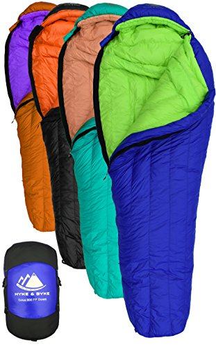 Hyke & Byke Eolus 15 & 30 Degree F 800 Fill Power Hydrophobic Goose Down Sleeping Bag with LofTech Base - Ultra Lightweight 3 Season Men
