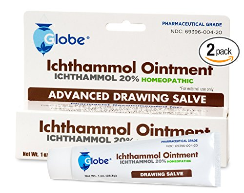 2-PACK Ichthammol Ointment 20%, (Drawing Salve) 1oz Tube (28.3g) Pharmaceutical Grade**** by Globe Pharmacy