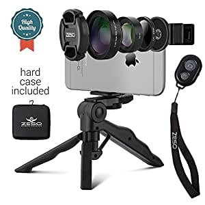 Camera Lens Kit by Zeso   Professional CPL, Macro & Wide Angle Lenses   Multi-use tripod & Selfie Remote Control   For iPhone, Samsung Galaxy, iPads, Tablets   Universal Phone Clip & Hard Storage Case