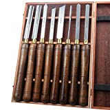 KSEIBI 312135 Industrial M2 HSS High Speed Steel Wood Turning Lathe Tools Chisel Gouge Woodworking Set from Beginners through to Professionals W/ Premium ash Handles 8 Pieces