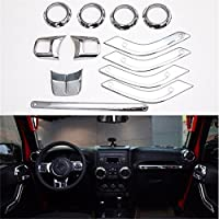 FMtoppeak 12pc/Kits Silver ABS Car Inner Dashboard Trim for Jeep Wrangler 4 Door 2011-2016
