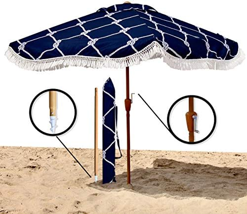 Premium Beach Umbrella-Extra Large 6 6 x 6 6 for Complete Shade Coverage for 2 People-with XL Wind Vent, Stainless Steel Metal Parts, and an Easy Crank Lift-Includes Matching Carry Bag