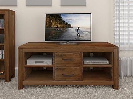 Oak Furniture House Mueble de Madera de Nogal para televisor de Pantalla Ancha y Baja, 4 estantes: Amazon.es: Hogar