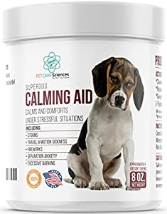 13. PET CARE Sciences – Dog Anxiety Relief, Contains L Tryptophan for Composure, 100 Soft Chews, Made in the USA