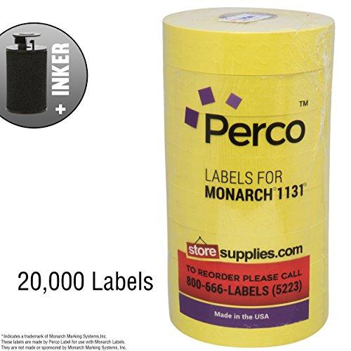 - Yellow Pricing Labels for Monarch 1131 Price Gun – 8 Rolls, 20,000 Pricemarking Labels – Bonus Ink Roll