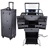 AW Black Rolling Makeup Case Pro Hair Stylist Barber Artists Case Multifunction Lighted Lockable