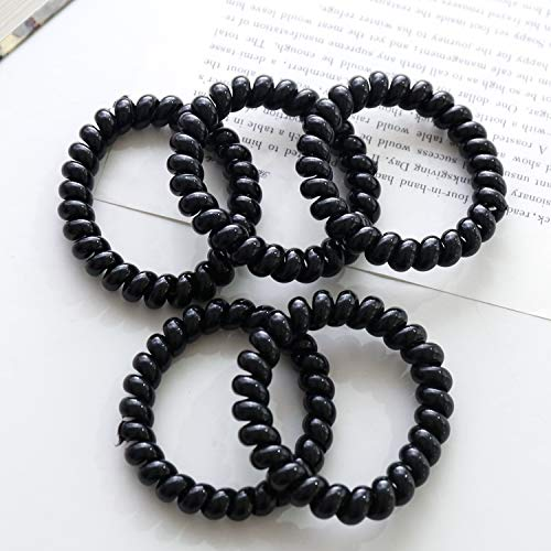 - korean headdress large phone rings hair circle hair elastic rope ponytail holder for children girls hair accessories dish made black rubber band hair coil twist small jewelry (large black ordinary mod