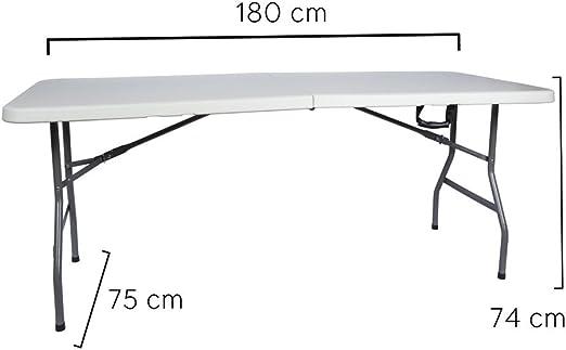 Tavoli Richiudibili Da Giardino.Tavolo Da Giardino Richiudibile Pieghevole In Metallo E Pvc Bianco