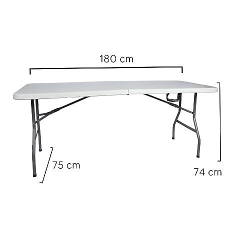 Tavoli In Pvc Pieghevoli.Tavolo Da Giardino Richiudibile Pieghevole In Metallo E Pvc Bianco