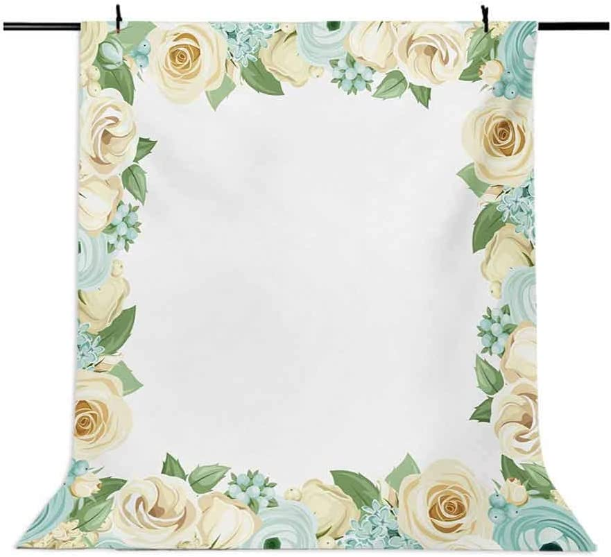 Shabby Chic 10x12 FT Backdrop Photographers,Flowers Roses Leaves Buds Romantic Love Valentines Frame Artwork Background for Baby Shower Birthday Wedding Bridal Shower Party Decoration Photo Studio