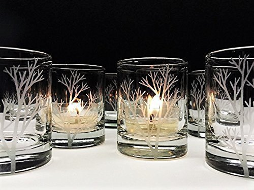 Set of 12 'Tree Branch' Candle Holders Engraved Glass Votive Holders