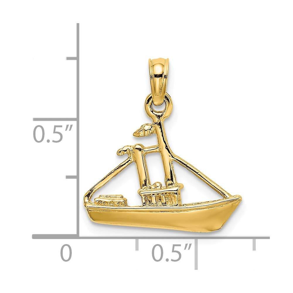 14k Yellow Gold 3-D CARGO SHIP TUG BOAT Charm