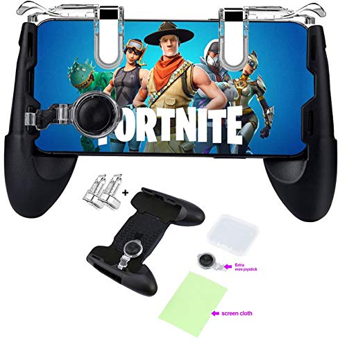 Mobile Game Controller for Fortnite & PUBG Compatible with iPhone/Android Phones 4.5-6.5 Sensitive Shoot/Aim Triggers Mobile Joystick Gaming Grip Extra Mouse & Cleaning Cloth Included.