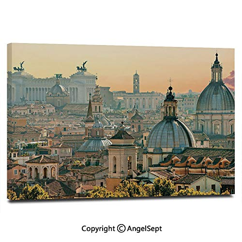 Modern Salon Theme Mural View of Rome from Castel SantAngelo Italy Historical Landmark Vatican Painting Canvas Wall Art for Home Decor 24x36inches, Pale Salmon Ivory Green