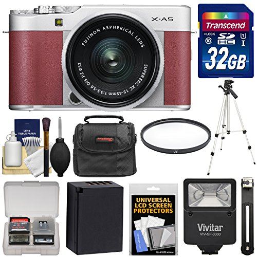 Fujifilm X-A5 Wi-Fi Digital Camera & 15-45mm XC Lens (Pink) with 32GB Card + Battery + Case + Tripod + Flash + Filter + Kit