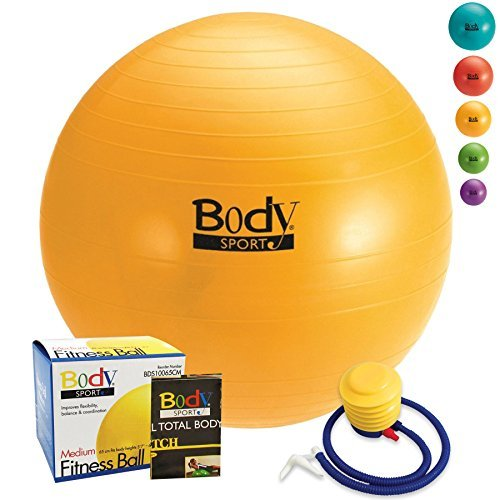 Body Sport Exercise Ball with Pump for Home, Gym, Balance, Stability, Pilates, Core Strength, Stretching, Yoga, Fitness Facilities, Desk Chairs...  yoga ball yellow | Yellow Ball Puncture 51r2BL7og0L