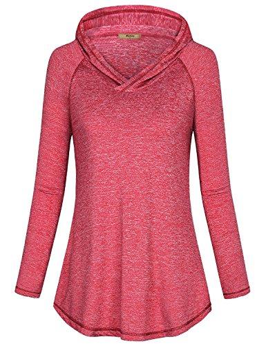 Miusey Womens Hooded Sweatshirts, Ladies Long Sleeve Round Hem Shirts Basic Cozy Elastic Sport Tops Hoodie Pullover Autumn Space Dye Rose Red ()
