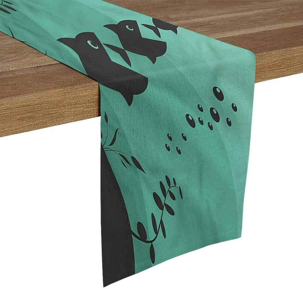 SoSung Linen Burlap Table Runner Dresser Scarves 14x72 Inch Fishing,Underwater Life Themed for Dining Room Kitchen Table Decor,Outdoor or Indoor Parties