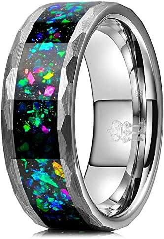 THREE KEYS JEWELRY 8mm Mens Black Tungsten Galaxy Ring with Green Opal Meteorite Inlay