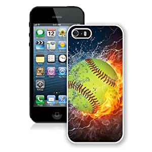 Softball Fire and Ice 1 White Custom Phone Shell iPhone 5S Case Cool Design