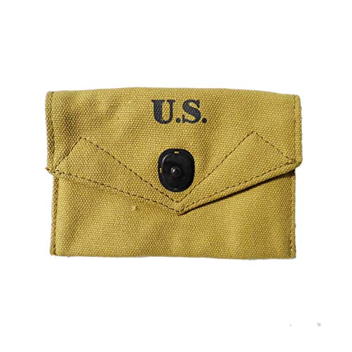 World War 2 Collection First Aid Pouch Bag with Hook USMC Army Equipment M1 Set M1943 Khaki]()