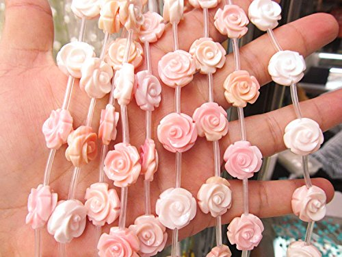 - 2strands high quality Genuine Pink Queen Conch Shell Pearl Shell Rose flower fluorial Hand Carved loose beads 8 10 12mm (10mm)