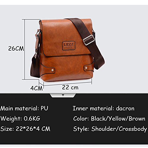PolarLander Hombres PU Bag Casual Travel Men's Crossbody Bolso Hombres Messenger Bolsos Marrón Black